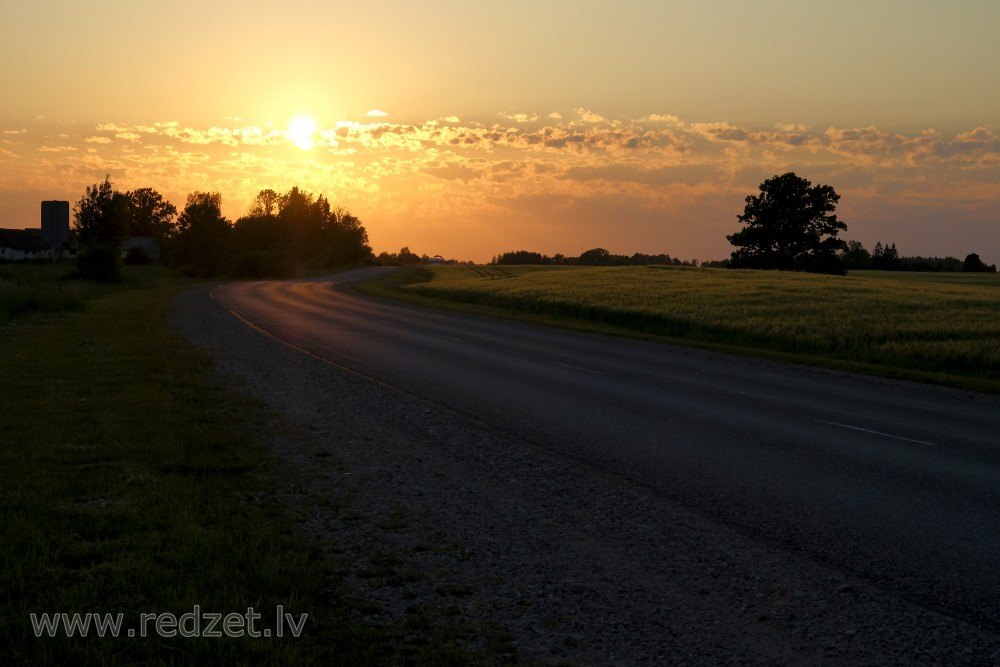 Sunset Landscape in Latvian Countryside