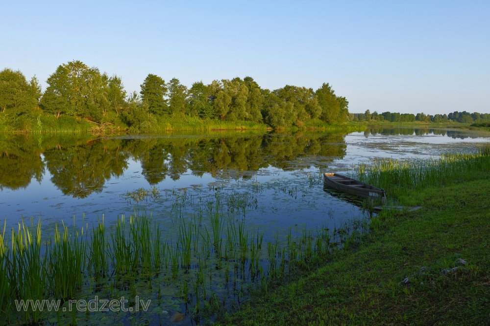 Dubna River Landscape and Boat, Dubna, Ainava, Laiva