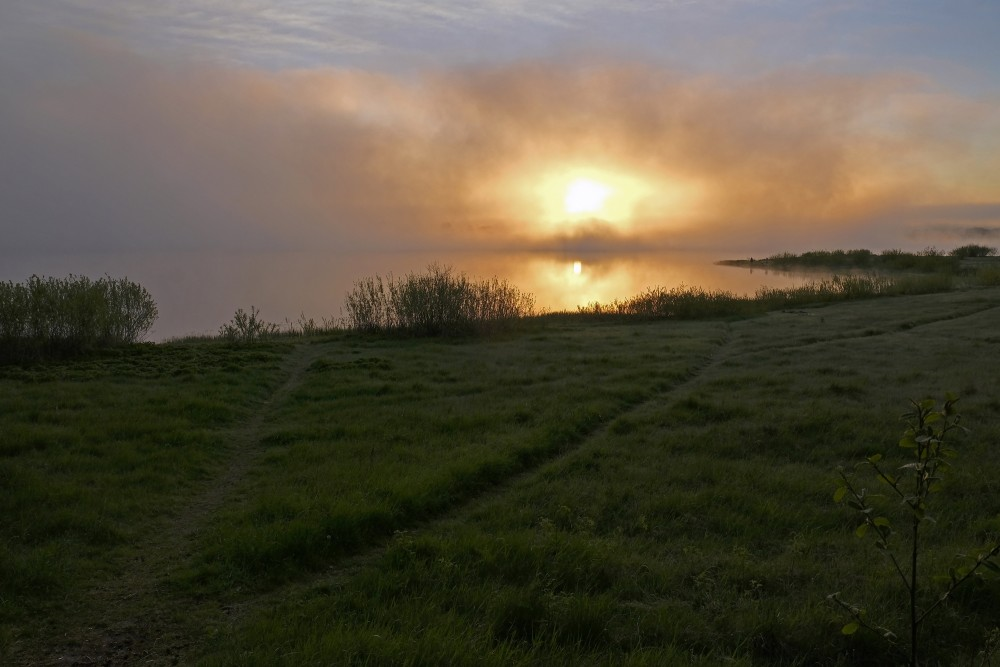 Sunrise And Fog On Lake Nabas