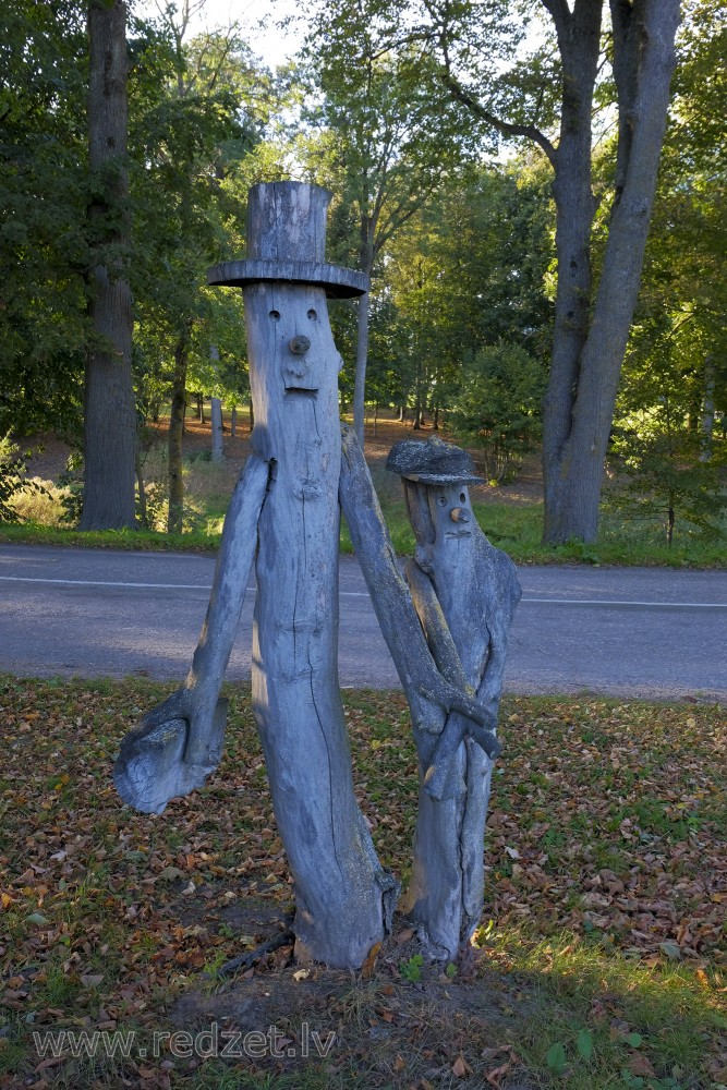 Wooden Sculptures in Zaļenieki