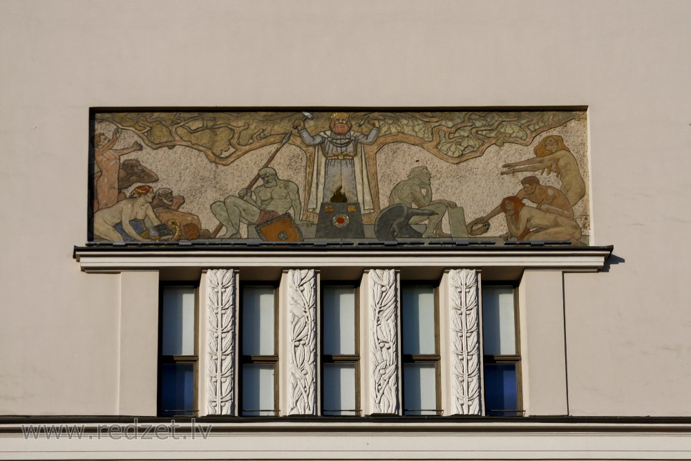 Decorative element of the facade (Merķeļa iela 13)