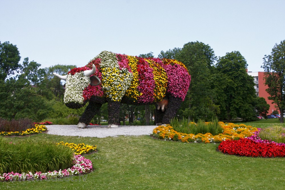 "Flower bed ""Flower Cow"" in Ventspils, Latvia"