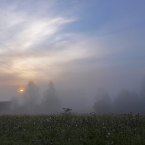 Foggy morning sunrise