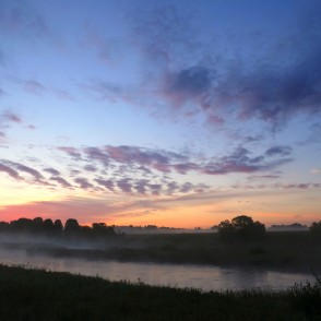 Venta River at dawn near Raņķi