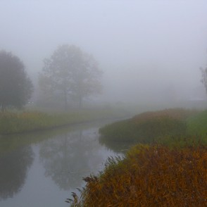 River Vecgauja in the Village Carnikava in the Fog