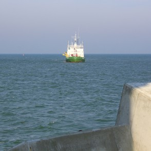 "Dredge-pump Ship ""Dzelme"" approaching to the Southern Pier of Ventspils"