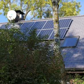 Solar cells on the roof of dwelling house