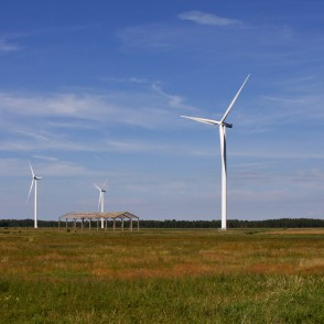 Wind Turbines in the Meadows of Platene
