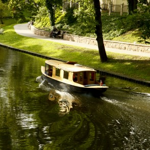 Motorboat in the Canal of Riga