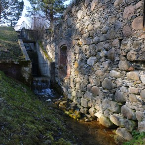 """Kaupēna dzirnavas"" (Kaupēna Mill) Pond Waterfall and Black Mill Ruins"