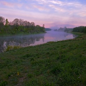 Venta River Near Lagzdiena Castle Mound At Sunrise
