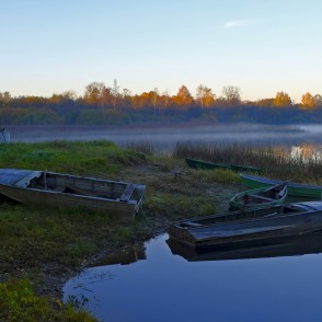 Boats near the Lake Marinzeja at Dawn
