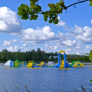 Inflatable water park on the Ozolnieki lake