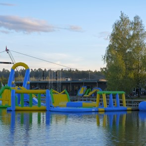 Dismantling of Inflatable Water Park on the Ozolnieki Lake
