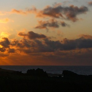 Sunset from Porthmeor beach in St Ives, Panorama