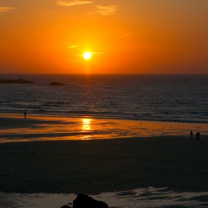 Sunset from Porthmeor beach in St Ives, Cornwall