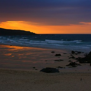 St. Ives Beach at Sunset