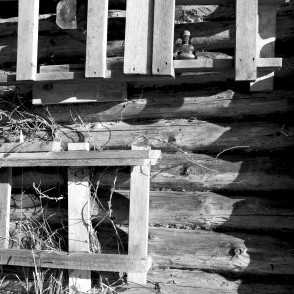 Fragment of a Log House (black and white photo)