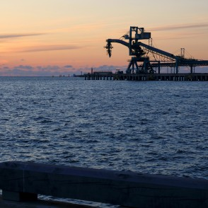 Port of Ventspils At Sunset