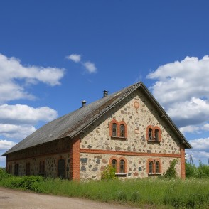 Old Stone Building, Cumulus Clouds