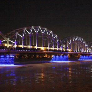 Riga Railway Bridge at Night