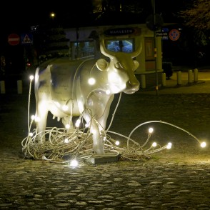 Cow of Light in Night, Ventspils, Latvia