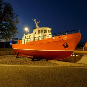 "Pilot ship ""Rota"" In Night, Ventspils"