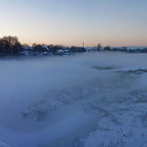 Winter panorama of river Venta, Latvia