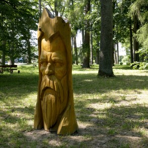 Wooden Sculpture in the Park of Galēni Manor
