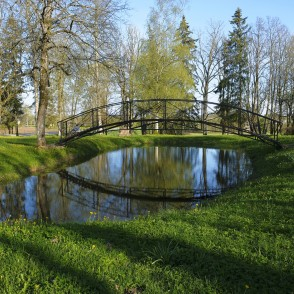 Bridge over the pond in Bārta Village