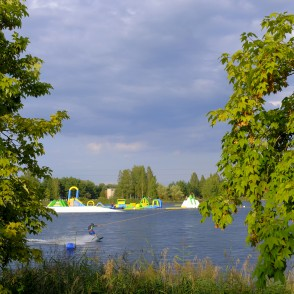 Wake Park and inflatable water park on the Ozolnieki lake